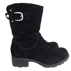 UGG Mare Black Suede Shearling Buckle Boots-N1419
